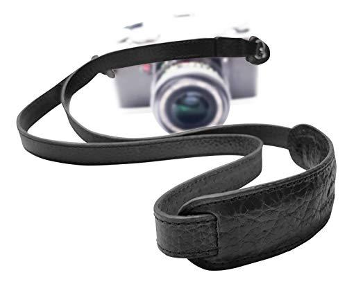 Echt Leder Kameragurt Schultergurt - SCHWARZ - für DSLR SLR und Kompakt-Kamera - Leder-Gurt schmal Vintage Kameraband Tragegurt Trageriemen - passend für Canon Nikon Sony - MIND CARE ESSENTIALS