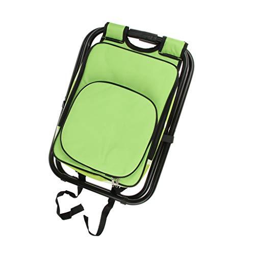 perfk 3 In 1 Rucksack Campinghocker Klapphocker Gartenhocker mit Kühltasche, bis 150kg Belastbar - Schwarz