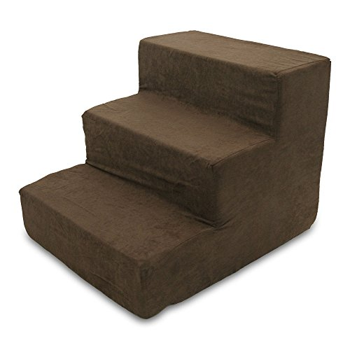 "Made in USA Pet Steps/Stairs with CertiPUR-US Certified Foam for Dogs & Cats by Best Pet Supplies - Dark Brown, 3-Step (H: 13.5""), Model:ST200C-S"