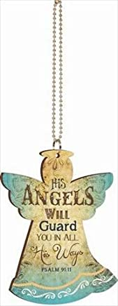 His Angels Will Guard You Vintage Look Wood Car Charm