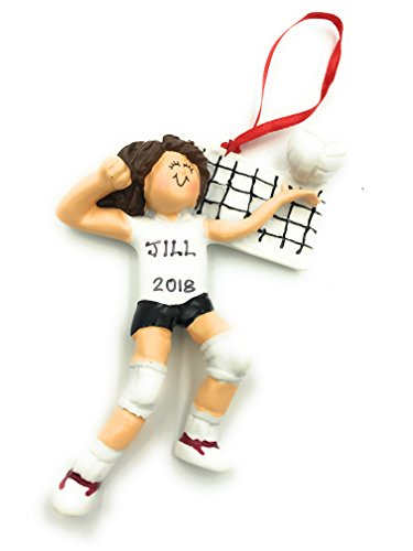Personalized Girl Brunette Volleyball Christmas Ornament 2020