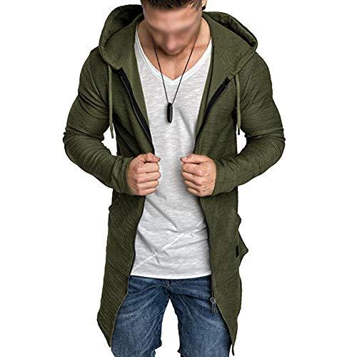 Sweat à Capuche Long pour Hommes Zip Pull à Capuche Veste Cardigan à Manches Longues Outwear Blouson Vert M