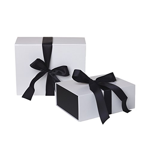Jillson Roberts 2-Count Small Ribbon-Tie Gift Boxes Available in 4 Colors, White Matte with Black Ribbon