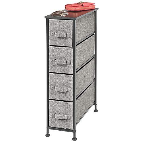 mDesign Kommode mit 4 Schubladen – schmaler Schubladenschrank mit MDF-Holzplatte für Schlafzimmer, Wohnzimmer oder Flur – Kleiderkommode aus Metall und Stoff – schwarz und grau