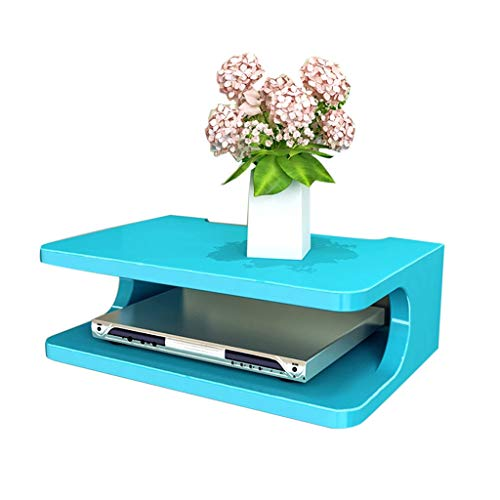 Estantería Flotante plástico ABS Estante de gabinete de TV montado en la Pared Consola de Carrito Estante de enrutador Caja de decodificador de DVD Estante de teléfono Colgante, Organizador de-Blue