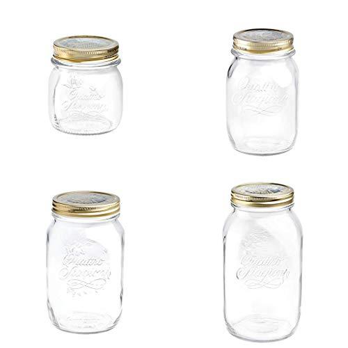 chiner® - Set 4 Tarros de Cristal con Tapa - 25 cl, 50 cl, 100 cl y 150 cl.