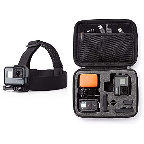 Amazon Basics - Montura con Correas para Cabeza para cámara GoPro + Estuche de Transporte para GoPro - Extra-pequeño
