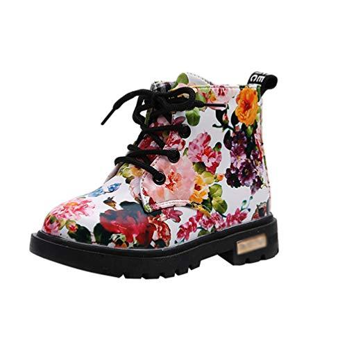JEELINBORE Mädchen Martin Stiefel Winter Schneestiefel Warme Weiche Winterschuhe Boots für Kinder Baby (Weiß, Asien 27)
