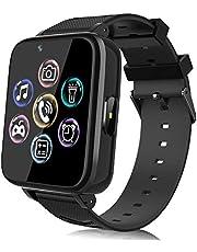 Smartwatch voor kinderen, horloge telefoon voor meisjes en jongens, touchscreen met muziekspeler, spel, camera, zaklampen, wekker, smart watch telefoneren, cadeau (zwart)