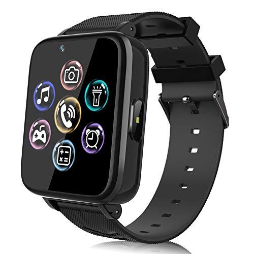 Smartwatch Teléfono para Niños, Reloj Inteligente para Niña y Niño Pantalla Táctil con Música, 14 Juegos, Cámara, Linterna, Alarma, Reloj Teléfono para Niños Regalo (Negro)