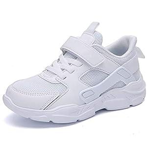 HSNA Unisex Niños Zapatillas Transpirables para Caminar Correr Ligeras y Cómodos Zapatos Deporte(Blanco 29 EU)