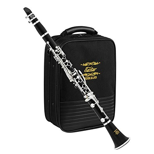 Eastar Bb Clarinet Silver plated Commander Ebonite B Flat Clarinet 17 Key...