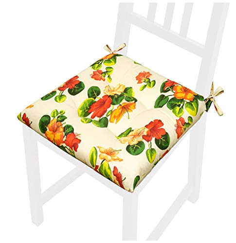 Cojín para silla con diseño de flores suave y universal, lavable, con lazos, fijación mod. CALLA52S