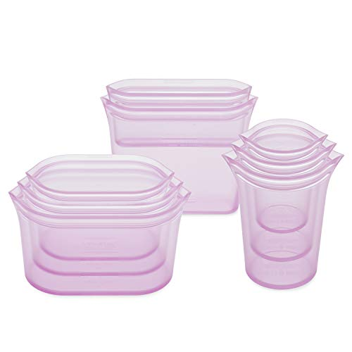 Zip Top Reusable 100% Silicone Food Storage Bags and Containers, Made in the USA - Full Set- 3 Cups, 3 Dishes & 2 Bags - Lavender