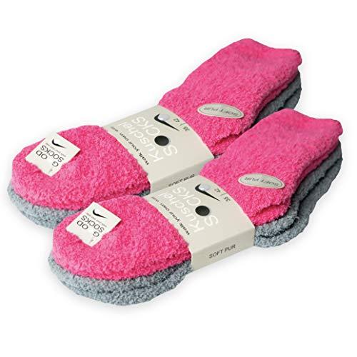 Good Socks 4 Paar Kuschelsocken Damen 39-42 flauschig weiche und flauschige Socken Damensocken 39-42 35-38 100% Baumwolle Haus (35-42, pink)