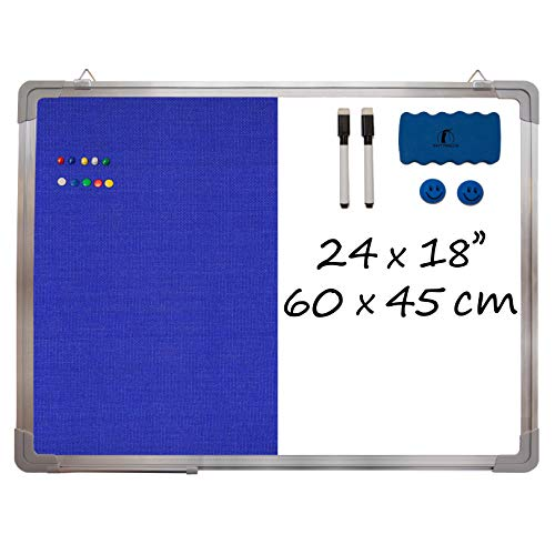 """Combination Whiteboard Bulletin Board Set - Dry Erase/Tack Felt Board 24 x 18"""" + 1 Magnetic Dry Eraser, 2 Black Marker Pens, 2 Magnets and 10 Color Pins - Combo Message White Board Office Cubicle"""