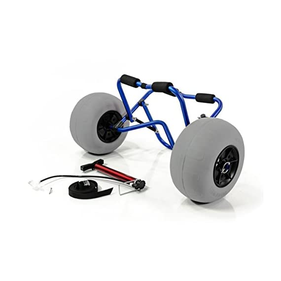 """Challenger outdoors kayak cart carrier dolly with large balloon tires heavy duty blue frame, pump and strap 5 detachable large low pressure 12"""" balloon tires what is included: manual heavy duty air pump & 12-ft cam buckle tie down strap carry your kayak, canoe and more, from your vehicle across the sand, loose gravel and mud"""