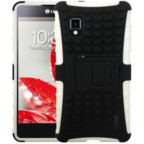JKase Diablo Series Tough Rugged Dual Layer Protection Case Cover with Build in Stand for LG Optimus G LS970 (Sprint Only, Will NOT Fits AT&T Version) - Retail Packaging - White