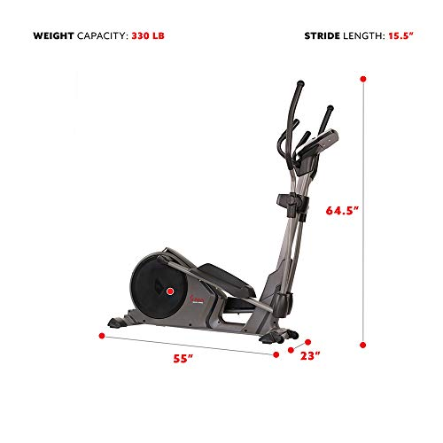 Product Image 6: Sunny Health & Fitness Magnetic Elliptical Trainer Machine w/Device Holder, Programmable Monitor and Heart Rate Monitoring, 330 LB Max Weight – SF-E3912, Silver