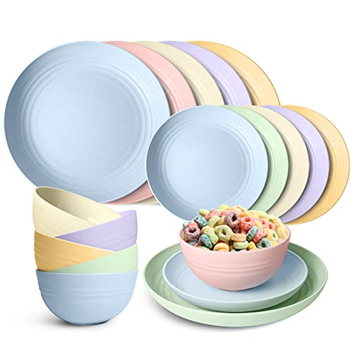 Peurif Kitchen Wheat Straw Dinnerware Set, Dinner Plates, Dessert Plate, Cereal Bowls, Unbreakable, Outdoor Camping Dishes (Multicolor, Service for 6 (18 pieces))