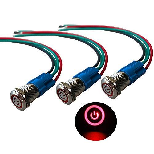 QitinDasen 3Pcs Premium 12V / 24V 3A Interruttore a Pulsante Autobloccante, 12mm Interruttore a Pulsante in Metallo con LED Rosso, Interruttore Avviamento Auto in Acciaio Inossidabile impermeabile