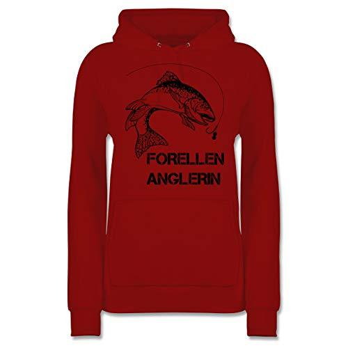 Angeln - Forellen Anglerin - schwarz - XS - Rot - JH001F_Hoodie_Damen - JH001F - Damen Hoodie und Kapuzenpullover für Frauen