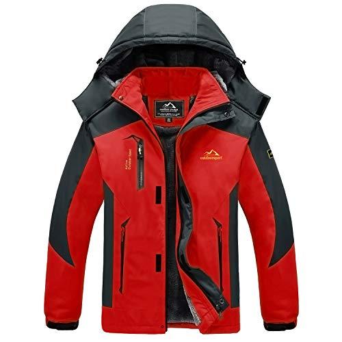 MAGCOMSEN Ski Jacke Herren Fleece Outdoorjacke Warm Winterjacke Herren Übergangsjacke Atmungsaktiv Windjacke Softshell Trekkingjacke für Camping Ski Sport Rot XL