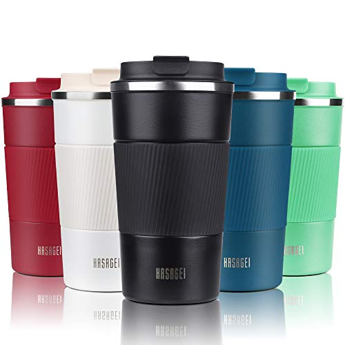 HASAGEI Travel Mug, Insulated Coffee Cup with Leakproof Lid - Vacuum Insulation Stainless Steel for Hot and Cold Water Coffee and Tea 510ml/18oz Black