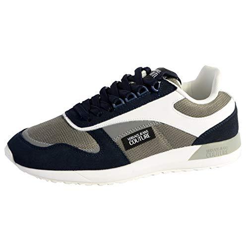 Versace Jeans Couture Eovvbsr2 Zapatillas Moda Hombres Azul/Gris/Blanco - 44 - Zapatillas Bajas Shoes