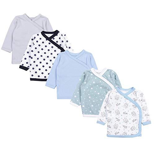 TupTam Unisex Baby Langarm Wickelshirt 5er Set, Farbe: Junge 7, Größe: 56