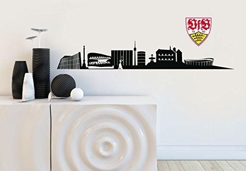 selbstklebendes Wandtattoo VfB Stuttgart Fanartikel Aufkleber Fussball Skyline schwarz 120x19cm mit Logo 18cm