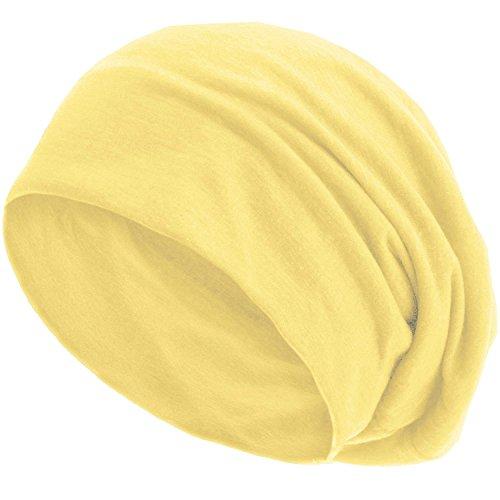 style3 style3 Slouch Beanie aus atmungsaktivem, feinem und leichten Jersey Unisex Mütze Haube Bini Einheitsgröße, Farbe:Gelb