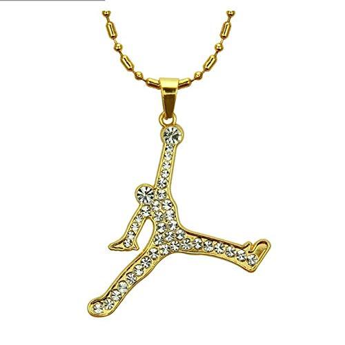 GZYM Collar Europea Hip Hop Deportes Baloncesto Colgante de Diamante y Accesorios Cadena de Oro de los Hombres de América