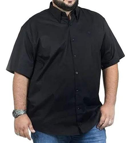 Camisa Social Masculina Manga Curta Plus Size Preta