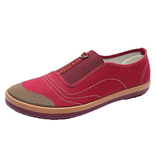 Willsky Mocasines De Lona Para Mujer Zapatos De Caminata De Deslizamiento Casual Plano Banda Elástica Para Personas Mayores Al Aire Libre Trabajo,Rojo,39EU