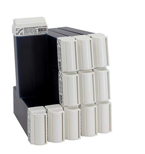 Epilwax 12 Cartuchos Roll-On de Cera Depilatoria Tibia Cera roll on de 100 ml de Azuleno cera profesional de alta calidad para Depilación con Bandas Depilatorias des las piernas, axilas, y el cuerpo