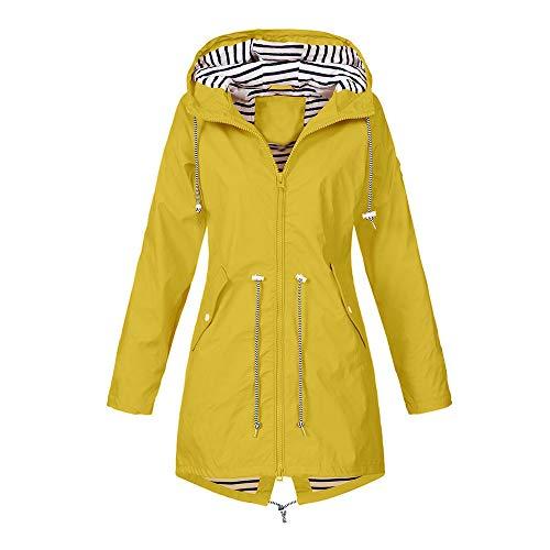 Lazzboy Solide Regenjacke Für Damen Outdoor-jacken Wasserdichter Regenmantel Mit Kapuze Winddicht Jacke Mantel Outdoor Wasserabweisend(Gelb,2XL)