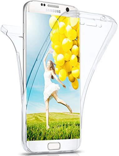 moex Double Case für Samsung Galaxy S6 Edge Plus - Hülle mit 360 Grad Schutz, Silikon Schutzhülle, vorne und hinten transparent, Clear Cover - Klar