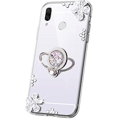 JAWSEU Compatible avec Coque Huawei P Smart Plus Miroir Paillette Glitter Strass Fleur Silicone Gel TPU Etui Housse de Protection avec Diamant Support de Bague Antichoc Bumper Case,Argent