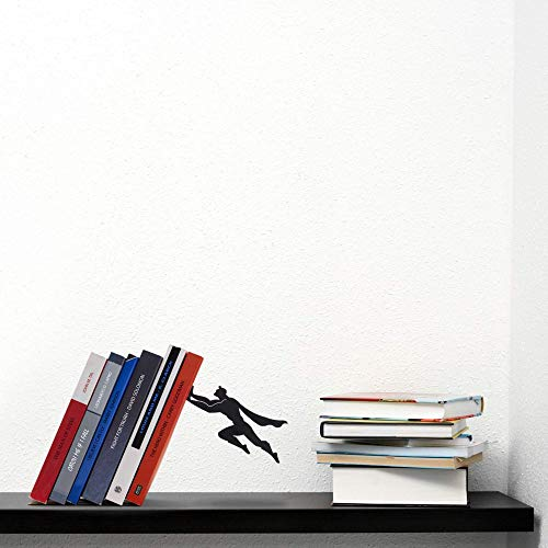 Product Image 2: Decorative Bookends for Shelf or Desk – Black Metal Book Ends – Superhero Bookend – Book Ends for Office – Cool Super Hero Book Stopper / Book Holder / Shelf Dividers – Book & Hero by Artori Design