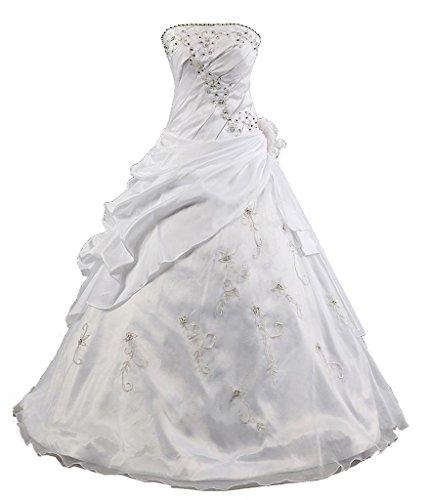 Kmformals Damen Ballkleid trägerlosen Prom Kleider Abendkleidung Größe 48 Weiß
