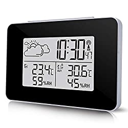 Wireless Weather Station, ONEVER Indoor Outdoor Forecast Station Clock, Thermometer Wireless Temperature and Humidity Monitor with Backlight & Alarm Clock for Home Office Hotel