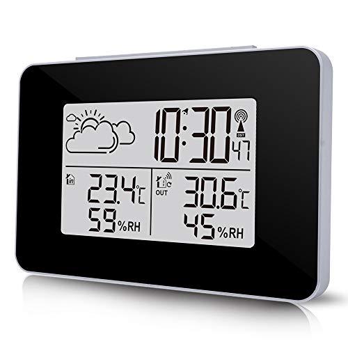 HITECHLIFE Stazione Meteorologica Digitale con Sveglia da Esterno per Sensore da Interno Display LCK di Temperatura/umidità, Previsioni Meteo Orologio da Comodino