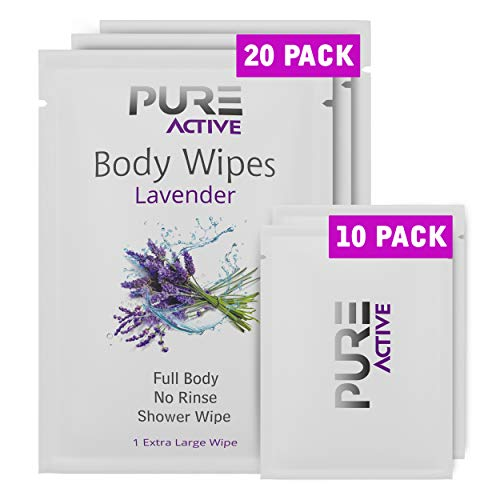 New Shower Body Cleansing Wipes - New Pure Active Lavender 20 XL+10 Mini Individually Wrapped Personal Hygiene Wipes for Women Perfect Solution to Keep Clean After Gym Travel Camping Outdoors Sports