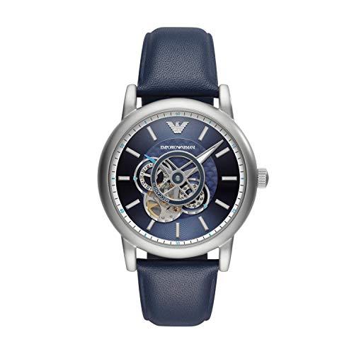 Emporio Armani Herren Analog Automatik Uhr mit Leder Armband AR60011