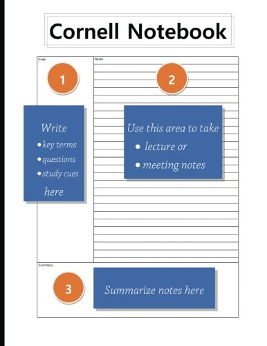 """Cornell Notebook: 8.5"""" x 11"""", Student Notebook, For Note Taking, For Lecture and Meetings, 100 pages,"""