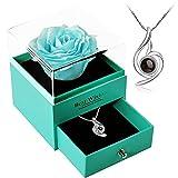 母の日のプレゼント人気-LalunaプリザーブドフラワーのジュエリーBOX 創作ギフトボックス-S925レディース ネックレス 青いバラ 薔薇 造花 プレゼント ギフト 石鹼花 石鹼フラワー 贈り物 ギフト、誕生日 記念日 ホワイトデー 母の日 七夕 先生へのプレゼント ブライダルジュエリーに最適なギフト、女性への贈り物として の人気アクセサリーです(ブルーローズ)