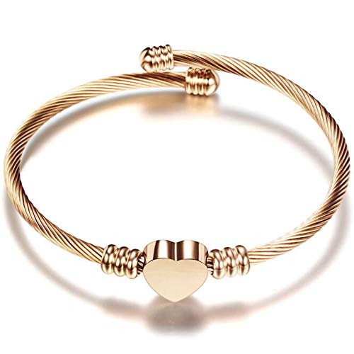 Jude Jewelers Stainless Steel Adjustable Open Cuff Heart Charm Bangle Bracelet (Rose Gold)