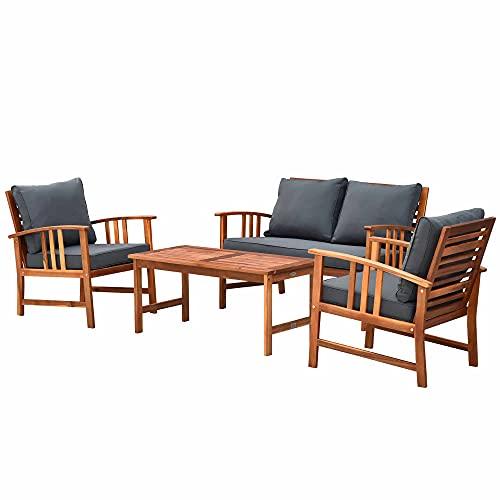Outsunny Set Tavolino e Sedie da Giardino in Legno Set 4 Mobili da Giardino Salotto da Giardino