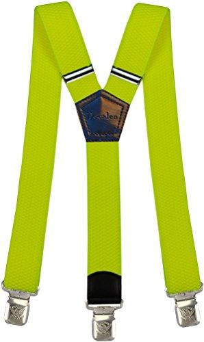 Hosenträger für Herren breit extra starken 4 cm mit 3er Clips Y-Form Lange für Männer und Damen Hose (Neon Gelb)